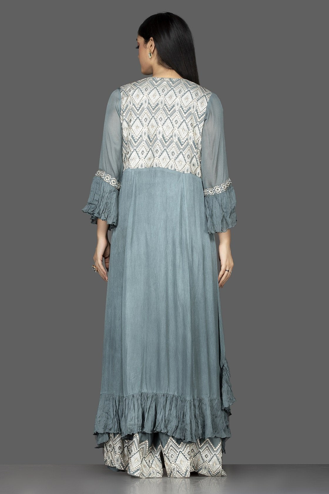 Shop sea green embroidered crop top and palazzo online in USA with long shrug. Flaunt your extraordinary fashion sense with stunning Indowestern dresses, designer Anarkali suits from Pure Elegance Indian fashion store in USA.-back