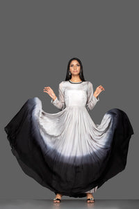 Buy elegant ombre grey embroidered georgette gown online in USA. Flaunt your extraordinary fashion sense with stunning Indian dresses, designer Anarkali suits from Pure Elegance Indian fashion store in USA.-full view