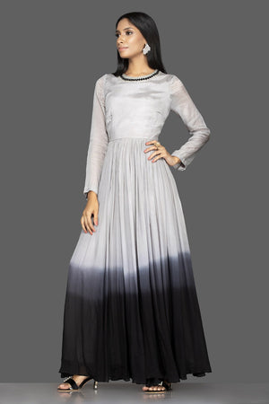 Buy elegant ombre grey embroidered georgette gown online in USA. Flaunt your extraordinary fashion sense with stunning Indian dresses, designer Anarkali suits from Pure Elegance Indian fashion store in USA.-side