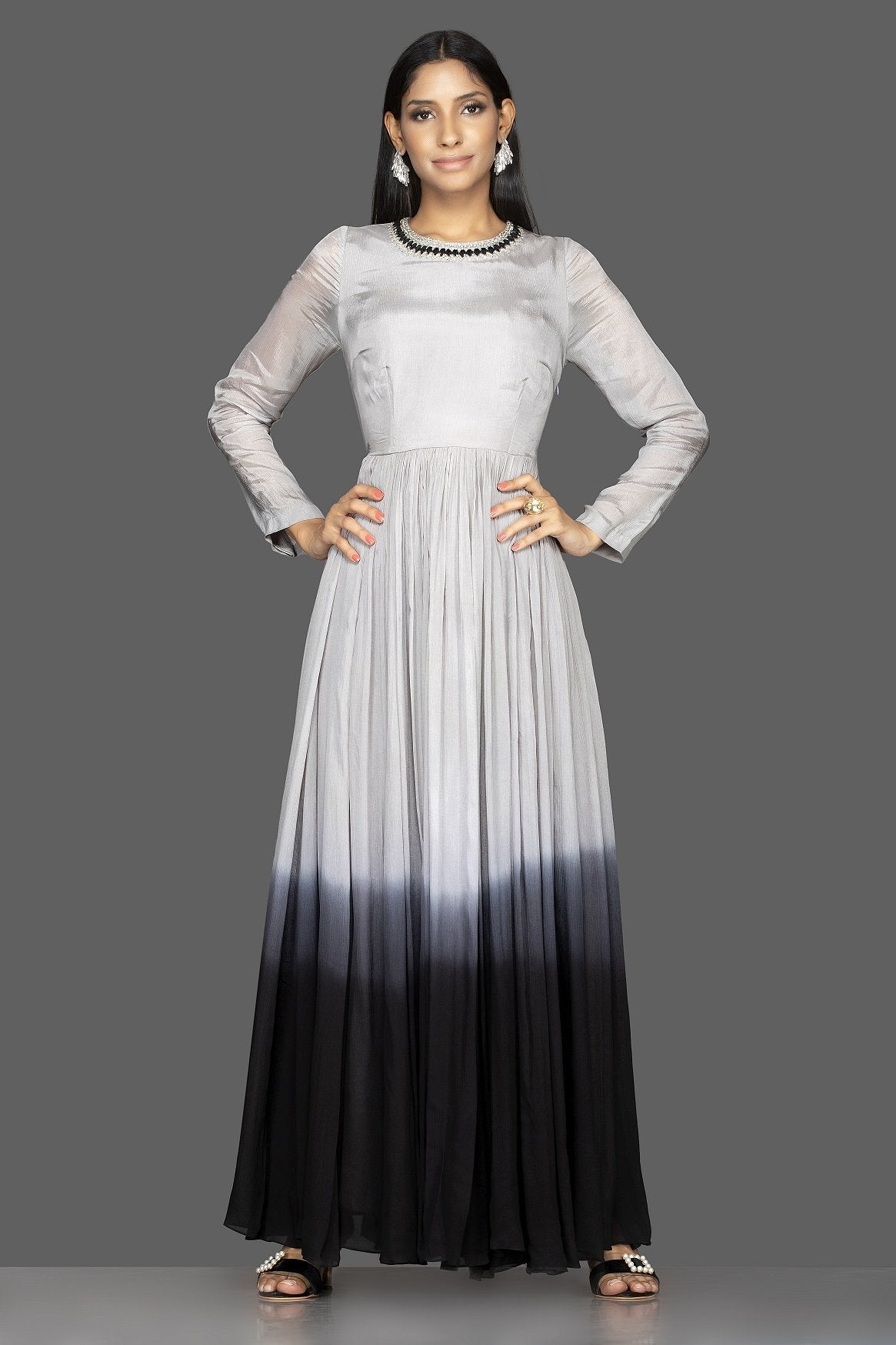 Buy elegant ombre grey embroidered georgette gown online in USA. Flaunt your extraordinary fashion sense with stunning Indian dresses, designer Anarkali suits from Pure Elegance Indian fashion store in USA.-front