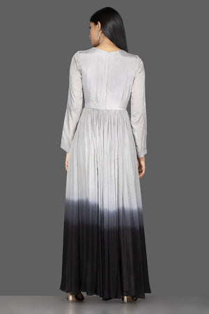 Buy elegant ombre grey embroidered georgette gown online in USA. Flaunt your extraordinary fashion sense with stunning Indian dresses, designer Anarkali suits from Pure Elegance Indian fashion store in USA.-back