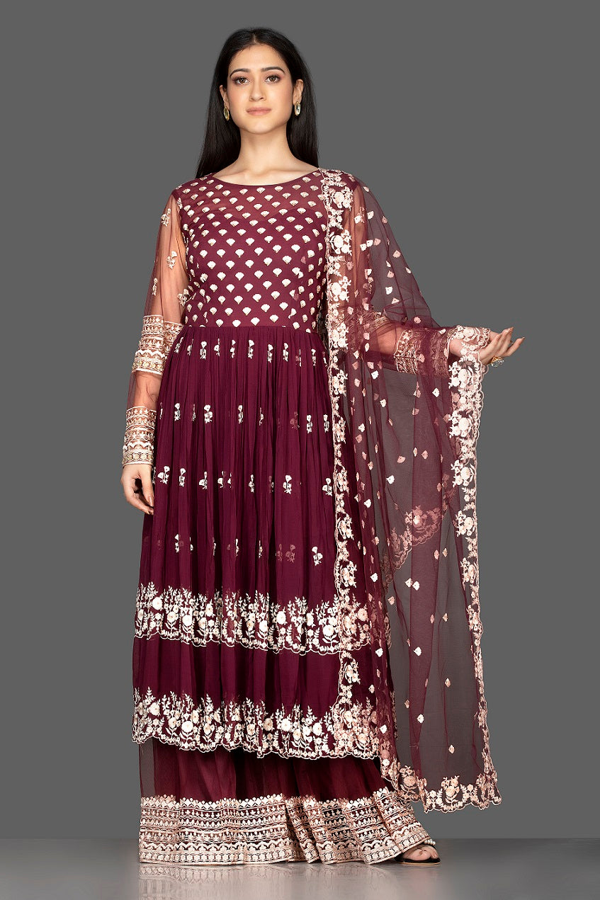 Shop maroon embroidered georgette and net palazzo suit online in USA. Flaunt your extraordinary fashion sense with stunning Indian dresses, designer Anarkali suits from Pure Elegance Indian fashion store in USA.-front