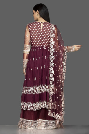 Shop maroon embroidered georgette and net palazzo suit online in USA. Flaunt your extraordinary fashion sense with stunning Indian dresses, designer Anarkali suits from Pure Elegance Indian fashion store in USA.-back