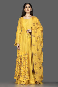 Shop attractive yellow embroidered chanderi silk Anarkali with dupatta online in USA. Flaunt your extraordinary fashion sense with stunning Indowestern dresses, designer Anarkali suits from Pure Elegance Indian fashion store in USA.-full view