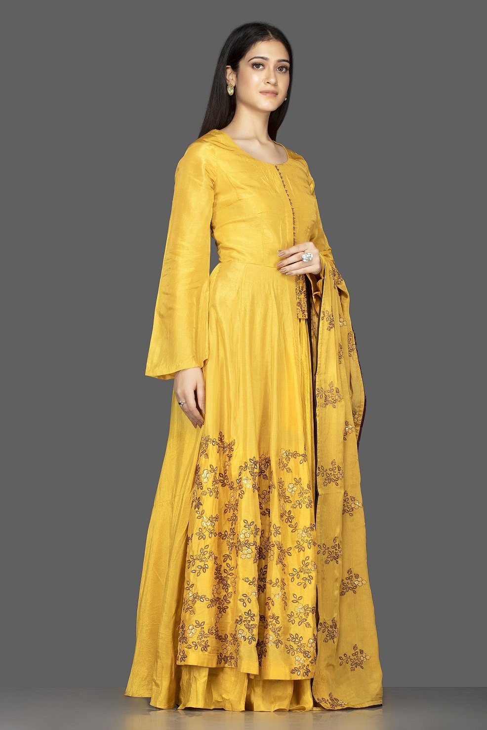 Shop attractive yellow embroidered chanderi silk Anarkali with dupatta online in USA. Flaunt your extraordinary fashion sense with stunning Indowestern dresses, designer Anarkali suits from Pure Elegance Indian fashion store in USA.-side