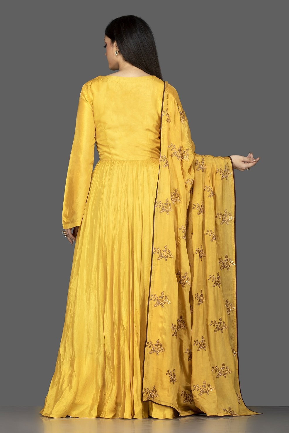 Shop attractive yellow embroidered chanderi silk Anarkali with dupatta online in USA. Flaunt your extraordinary fashion sense with stunning Indowestern dresses, designer Anarkali suits from Pure Elegance Indian fashion store in USA.-back