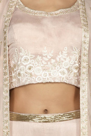 Buy alluring cream embroidered georgette crop top and palazzo online in USA with long shrug. Flaunt your extraordinary fashion sense with stunning Indowestern dresses, designer Anarkali suits from Pure Elegance Indian fashion store in USA.-closeup