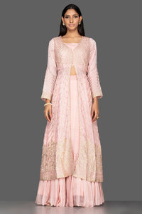 Buy powder pink top and skirt online in USA with embroidered long jacket. Flaunt your extraordinary fashion sense with stunning Indowestern dresses, designer Anarkali suits from Pure Elegance Indian fashion store in USA.-full view