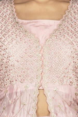 Buy powder pink top and skirt online in USA with embroidered long jacket. Flaunt your extraordinary fashion sense with stunning Indowestern dresses, designer Anarkali suits from Pure Elegance Indian fashion store in USA.-closeup
