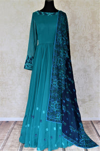 Shop gorgeous sea green embroidered georgette Anarkali online in USA with dupatta. Dazzle at weddings and festive occasions with stunning designer sharara and Anarkali suits from Pure Elegance Indian fashion store in USA.-full view