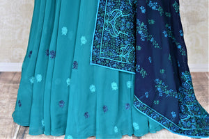 Shop gorgeous sea green embroidered georgette Anarkali online in USA with dupatta. Dazzle at weddings and festive occasions with stunning designer sharara and Anarkali suits from Pure Elegance Indian fashion store in USA.-bottom