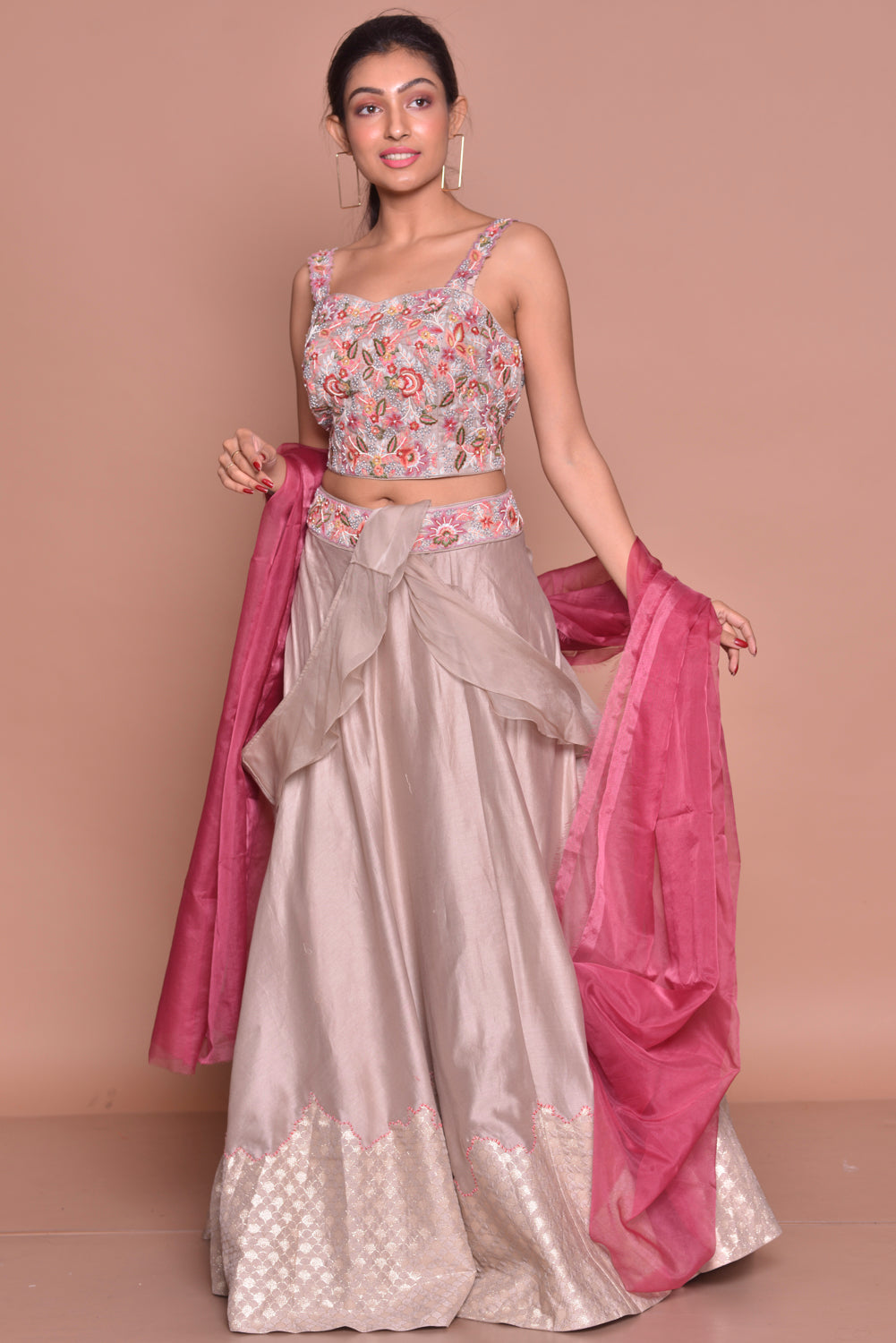 Shop light grey embroidered lehenga with online in USA and pink dupatta. Flaunt Indian fashion with exquisite designer suits, Anarkali suits, sharara suits from Pure Elegance Indian cloth store in USA. -full view