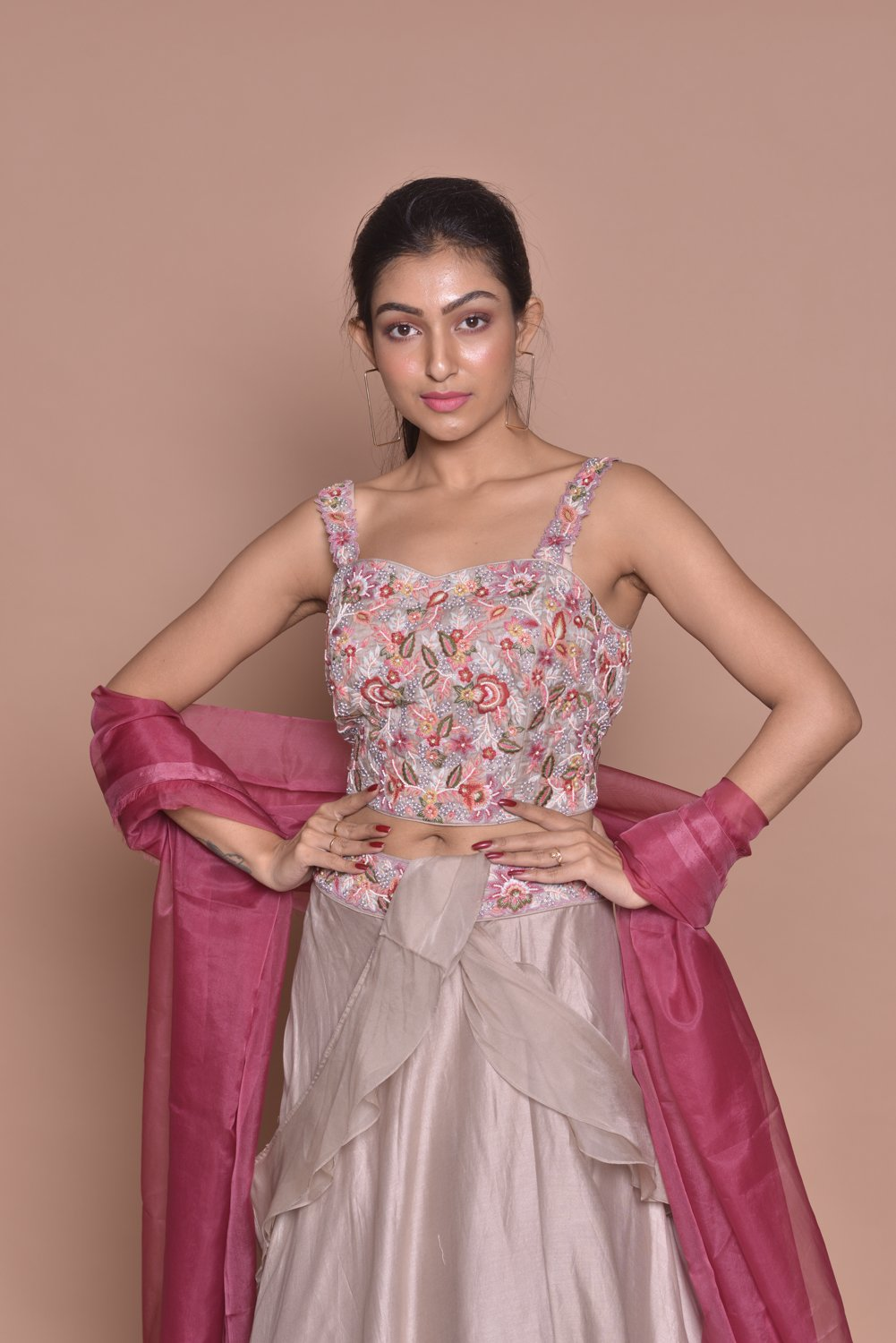 Shop light grey embroidered lehenga with online in USA and pink dupatta. Flaunt Indian fashion with exquisite designer suits, Anarkali suits, sharara suits from Pure Elegance Indian cloth store in USA. -closeup