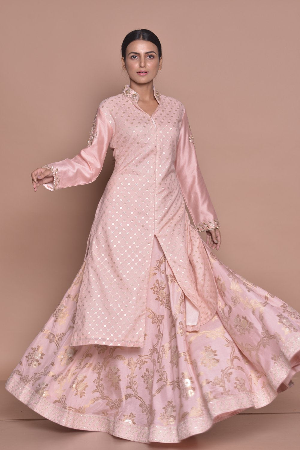 Buy elegant powder pink embroidered kurta with skirt with online in USA. Flaunt Indian fashion with exquisite designer suits, Anarkali suits, sharara suits from Pure Elegance Indian cloth store in USA. -full view