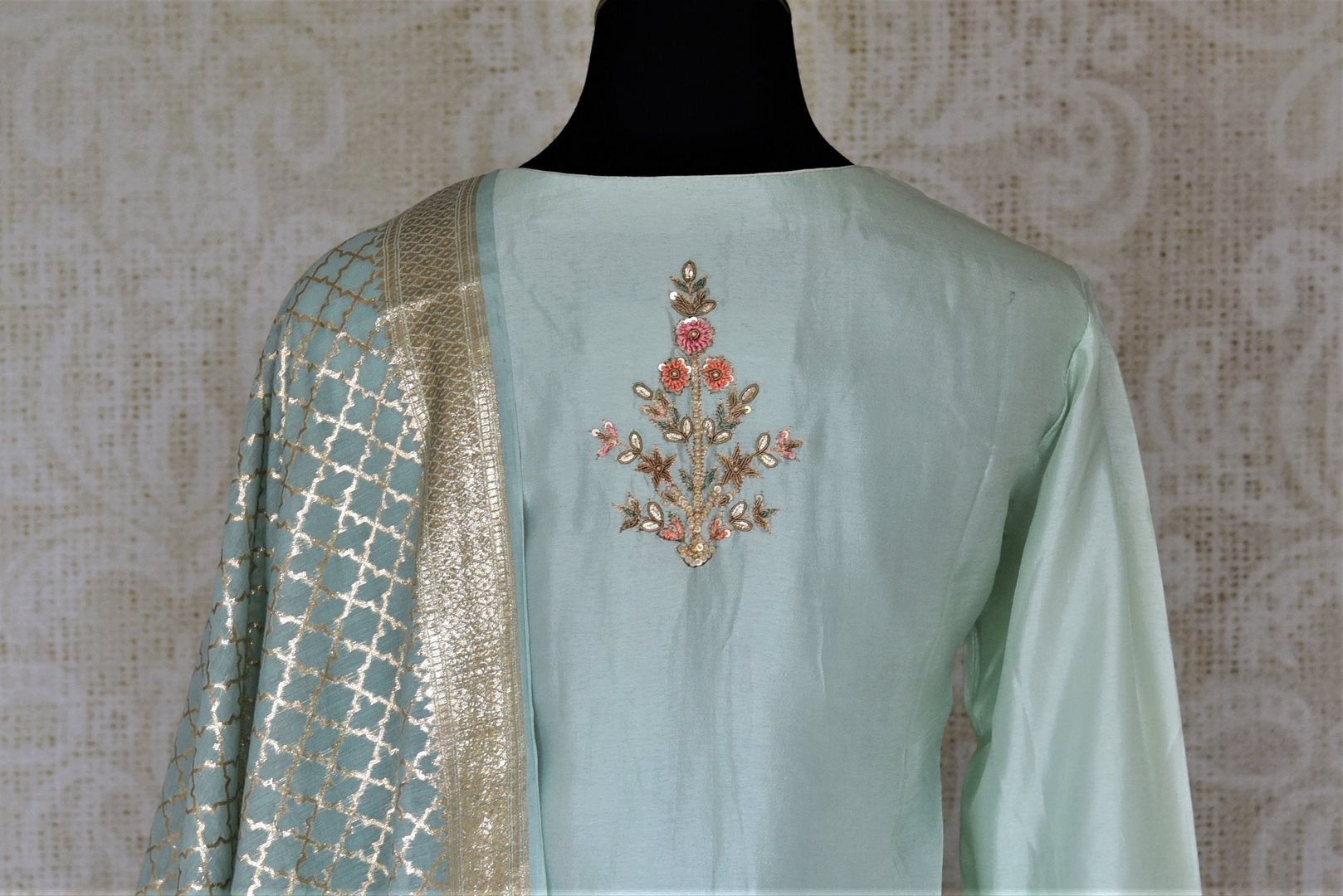 Shop exquisite mint green hand embroidery silk suit with palazzo online in USA and dupatta. Dazzle at weddings and festive occasions with stunning designer sharara and Anarkali suits from Pure Elegance Indian fashion store in USA.-back