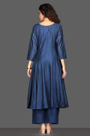 Buy elegant navy flared palazzo suit online in USA with white dupatta. Dazzle on weddings and special occasions with exquisite Indian designer dresses, sharara suits, Anarkali suits from Pure Elegance Indian fashion store in USA.-back