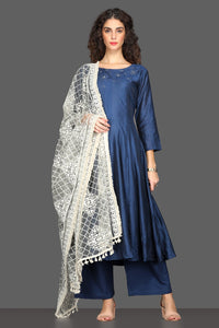 Buy elegant navy flared palazzo suit online in USA with white dupatta. Dazzle on weddings and special occasions with exquisite Indian designer dresses, sharara suits, Anarkali suits from Pure Elegance Indian fashion store in USA.-full view