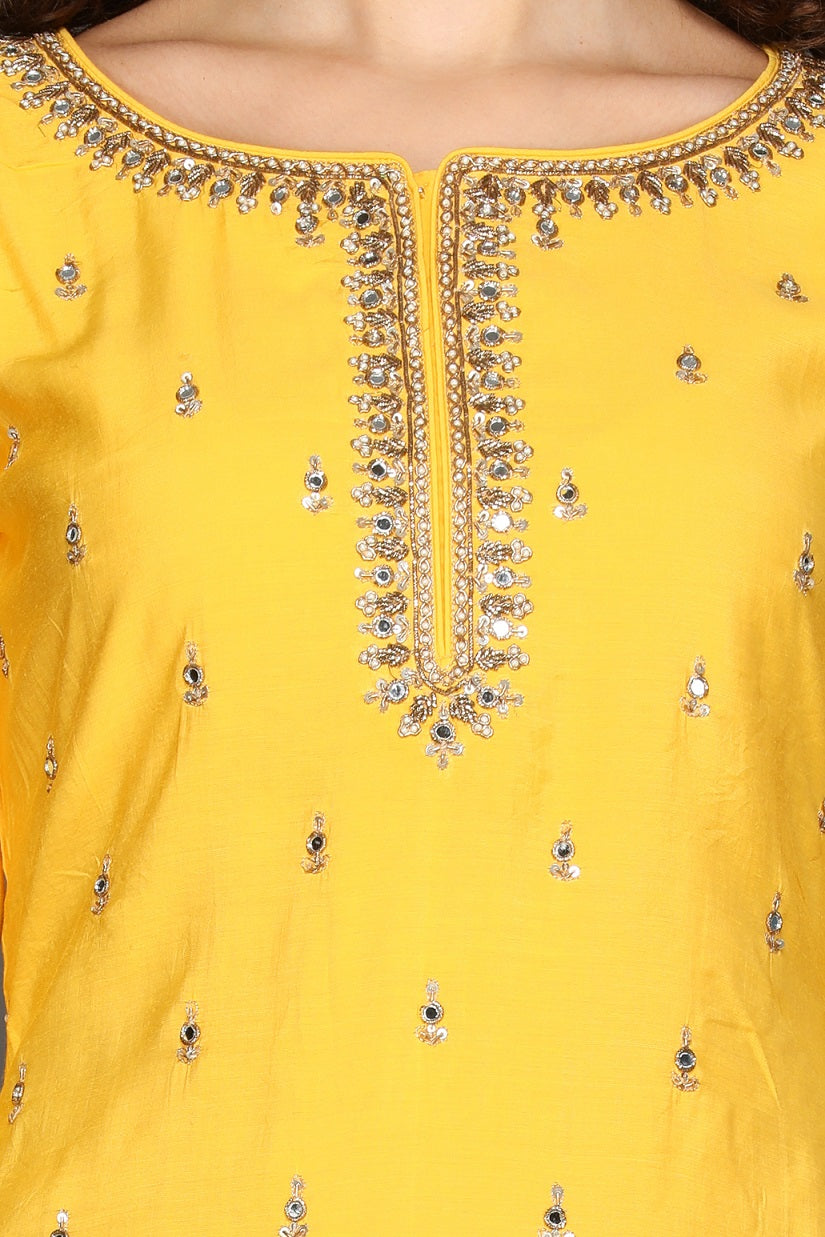 Buy bright yellow and red embroidered sharara suit online in USA with printed dupatta. Dazzle on weddings and special occasions with exquisite Indian designer dresses, sharara suits, Anarkali suits from Pure Elegance Indian fashion store in USA.-closeup