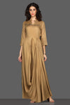Buy elegant beige draped maxi dress online in USA. Dazzle on weddings and special occasions with exquisite Indian designer dresses, sharara suits, Anarkali suits from Pure Elegance Indian fashion store in USA.-full view