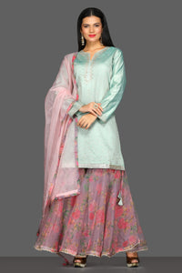 Shop beautiful mint green and floral pink embroidered sharara suit online in USA. Dazzle on weddings and special occasions with exquisite Indian designer dresses, sharara suits, Anarkali suits from Pure Elegance Indian fashion store in USA.-full view