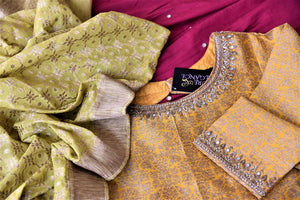 Buy gorgeous yellow and pink embroidered silk sharara suit online in USA with green dupatta. Elevate your ethnic style on weddings and festive occasions with stunning designer Anarkali suits, sharara suits, palazzo suits, salwar suits from Pure Elegance Indian fashion boutique in USA.-details