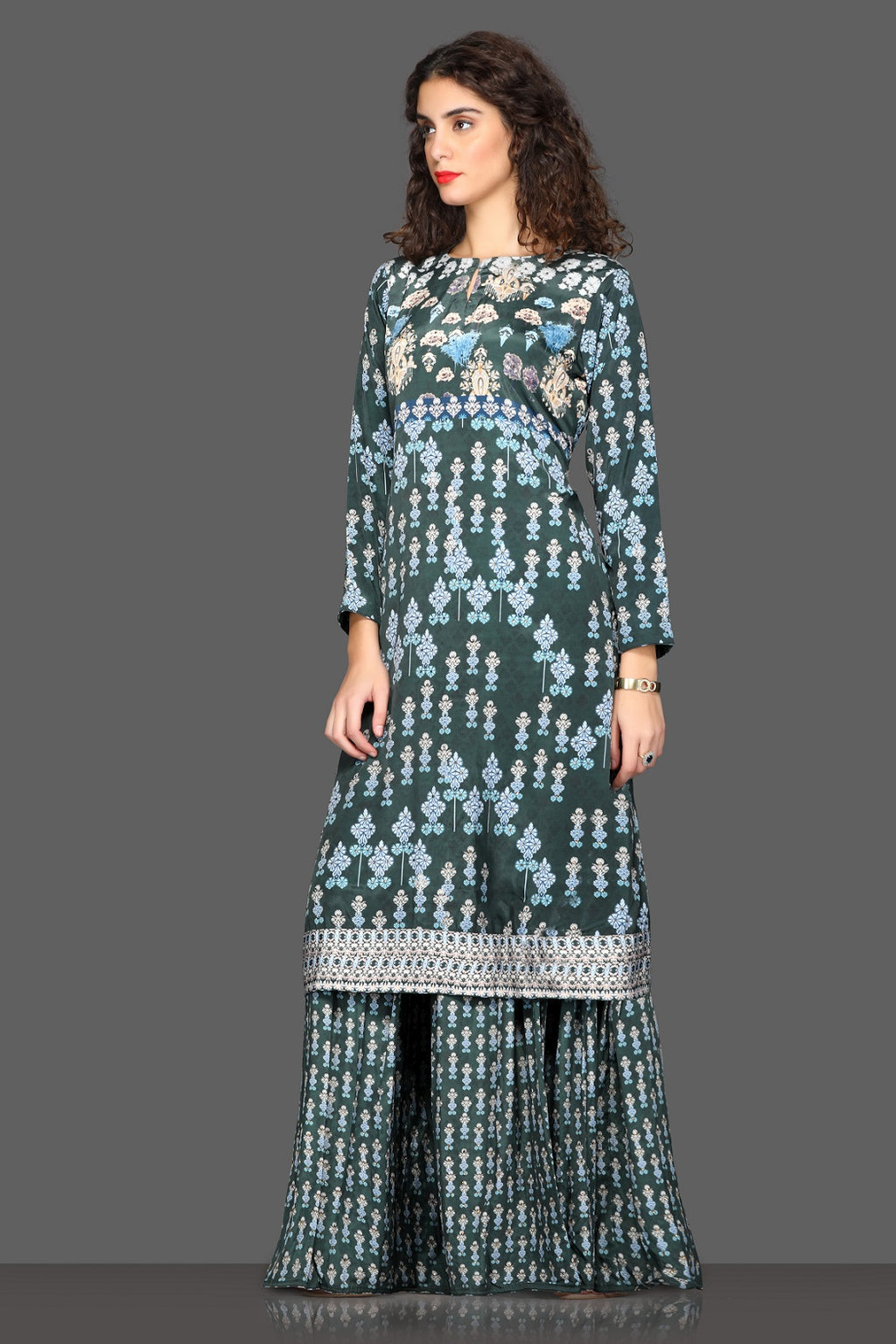 Shop elegant grey printed palazzo suit online in USA. Dazzle on weddings and special occasions with exquisite Indian designer dresses, sharara suits, Anarkali suits from Pure Elegance Indian fashion store in USA.-full view