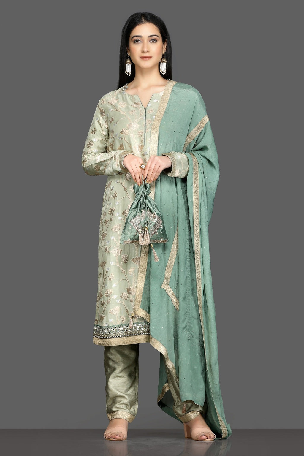 Shop elegant pista green embroidered pant suit online in USA with green dupatta. Flaunt your sartorial choices on special occasions with beautiful designer dresses, Anarkali suits, traditional salwar suits, Indian lehengas from Pure Elegance Indian fashion boutique in USA. -full view