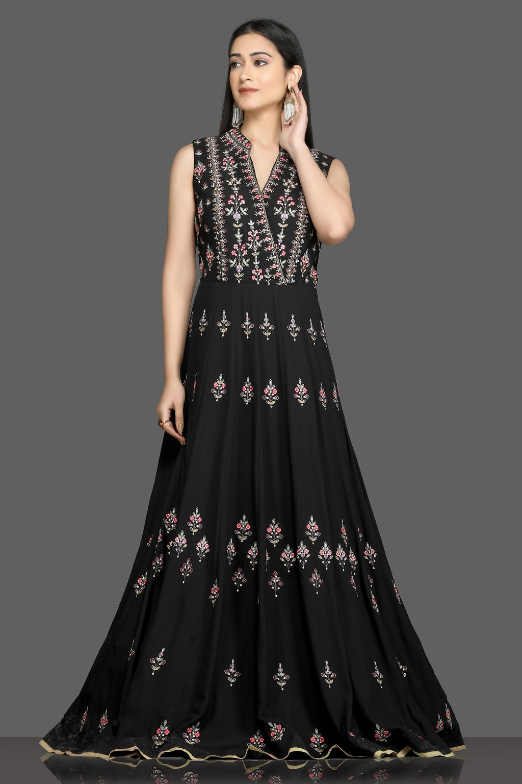 Shop gorgeous black embroidered sleeveless Anarkali gown online in USA. Flaunt your sartorial choices on special occasions with beautiful designer gowns, Anarkali suits, traditional salwar suits, Indian lehengas from Pure Elegance Indian fashion boutique in USA. -full view