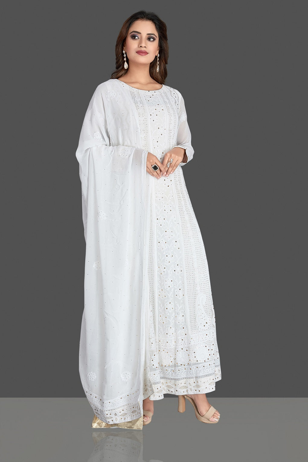 Buy gorgeous white georgette Lucknowi chikankari work Anarkali suit online in USA. Flaunt your sartorial choice with beautiful embroidered Anarkali, sharara suits, designer lehengas, designer gowns from Pure Elegance Indian saree store in USA.-full view