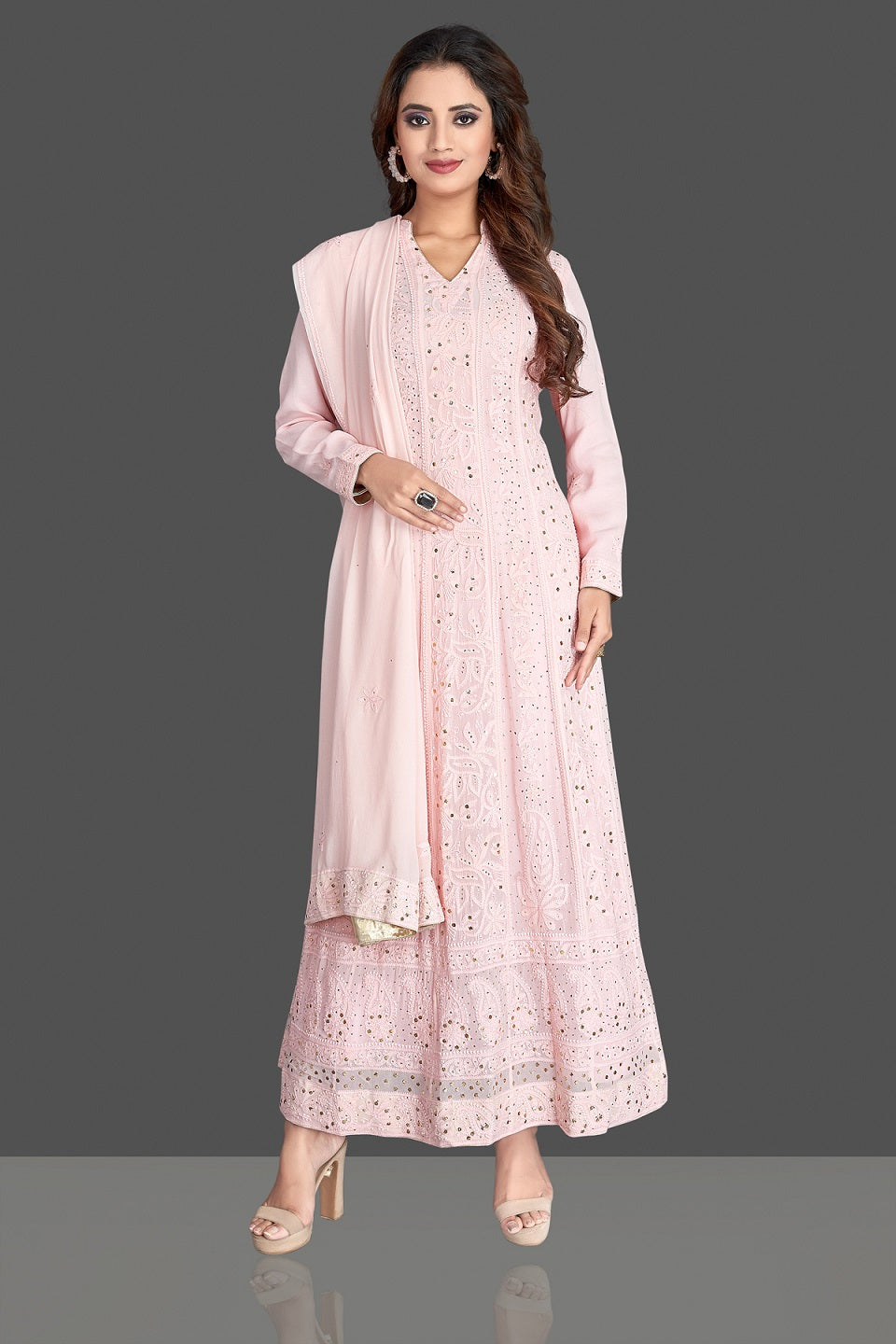 Shop beautiful powder pink Lucknowi chikankari work georgette Anarkali suit online in USA. Flaunt your sartorial choice with beautiful embroidered Anarkali, sharara suits, designer lehengas, designer gowns from Pure Elegance Indian saree store in USA.-full view\