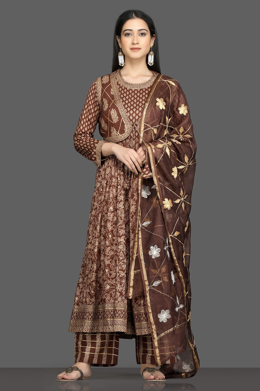 Buy beautiful brown printed silk Anarkali suit online in USA with waist jacket and dupatta. Shop for parties and festive occasions stunning designer suits, Anarkali suits, designer gowns, wedding lehengas from Pure Elegance Indian fashion store in USA.-full view