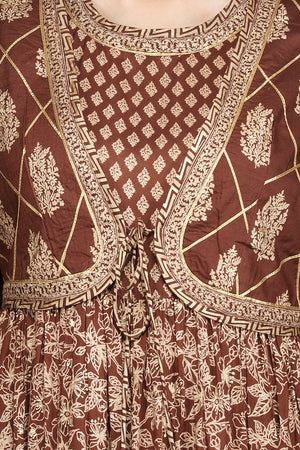 Buy beautiful brown printed silk Anarkali suit online in USA with waist jacket and dupatta. Shop for parties and festive occasions stunning designer suits, Anarkali suits, designer gowns, wedding lehengas from Pure Elegance Indian fashion store in USA.-closeup