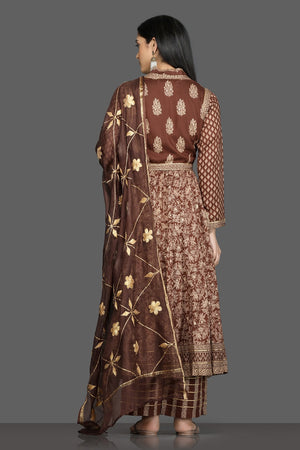 Buy beautiful brown printed silk Anarkali suit online in USA with waist jacket and dupatta. Shop for parties and festive occasions stunning designer suits, Anarkali suits, designer gowns, wedding lehengas from Pure Elegance Indian fashion store in USA.-back