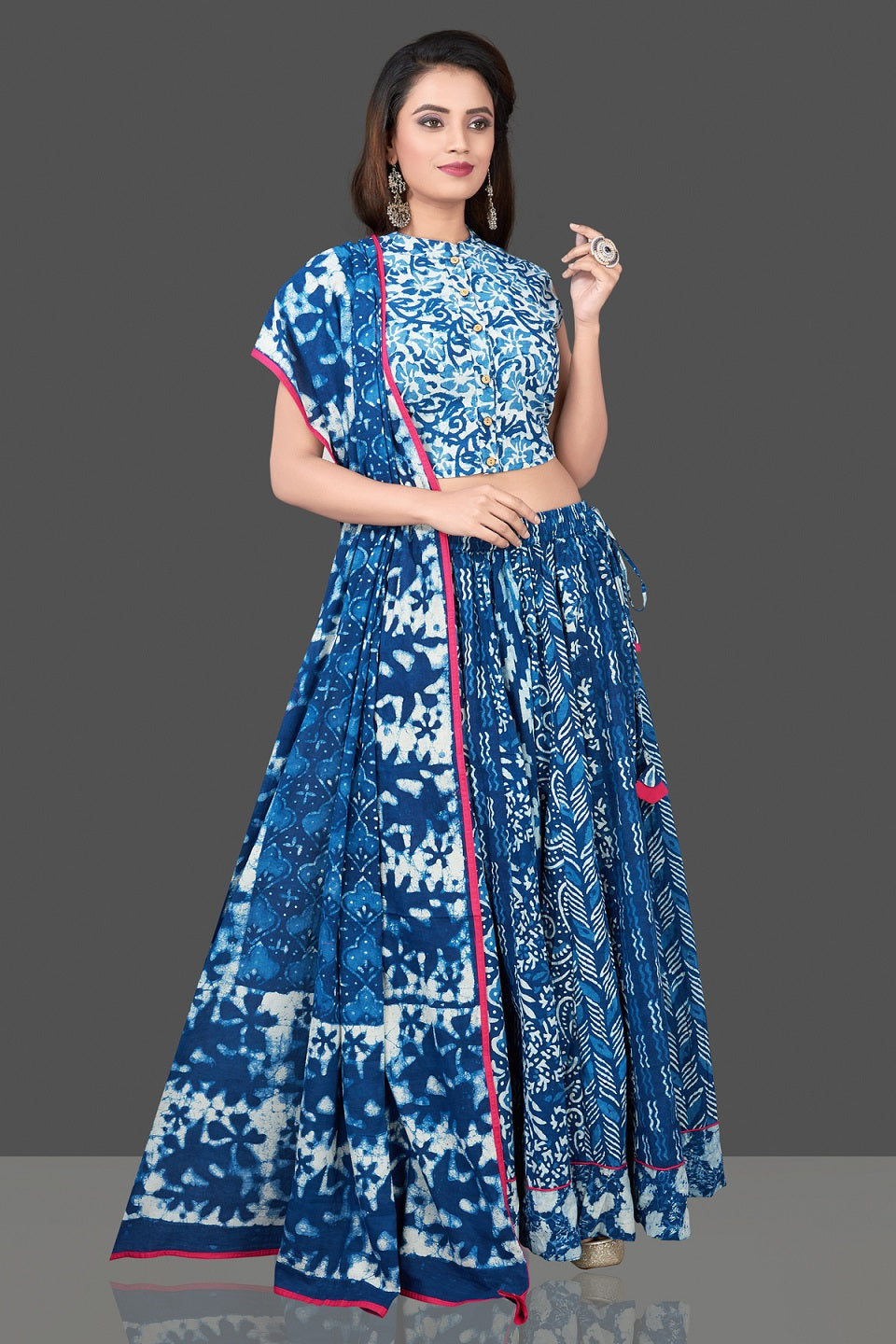 Buy beautiful blue and white Bagru block printed skirt set online in USA with dupatta. Shop designer Indian clothing, lehengas, designer Anarkali, gharara suits, Indian dresses in USA from Pure Elegance Indian fashions store for parties and special occasions.-full view