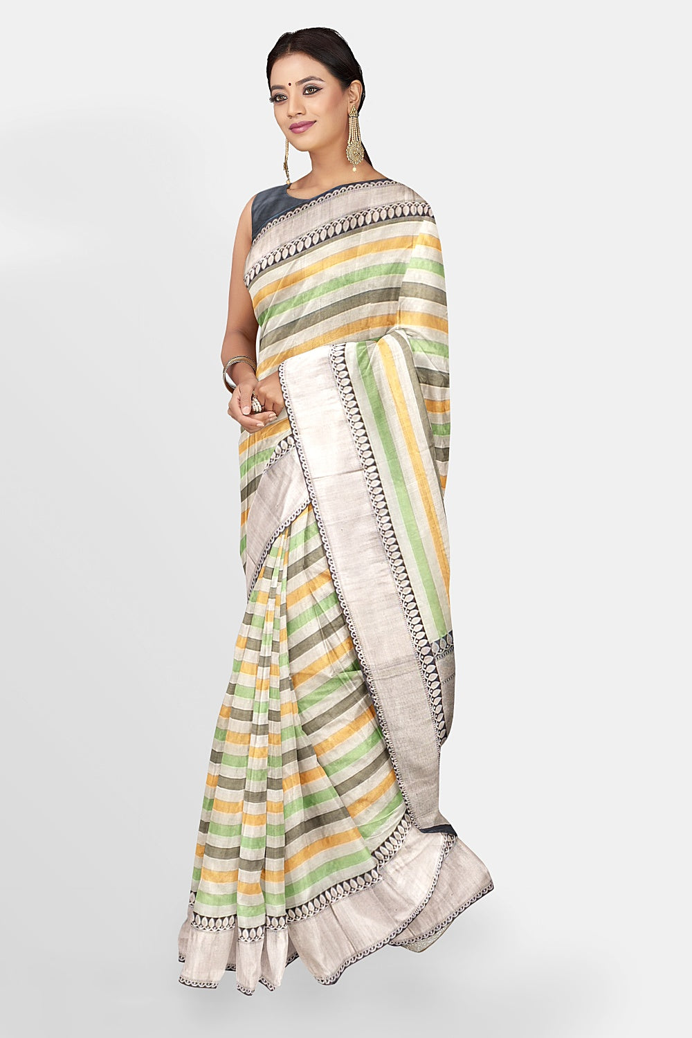 Shop beautiful multicolor stripes silk cotton Banarasi sari online in USA with zari border. Make a fashion statement at weddings with stunning designer sarees, embroidered sarees with blouse, wedding sarees, handloom sarees from Pure Elegance Indian fashion store in USA.-full view