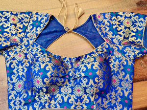 Buy stunning ink blue Banarsi silk designer saree blouse online in USA. Elevate your ethnic saree style with a tasteful collection of designer saree blouses, embroidered sari blouses, Banarasi blouses, silk saree blouses from Pure Elegance Indian clothing store in USA.-front