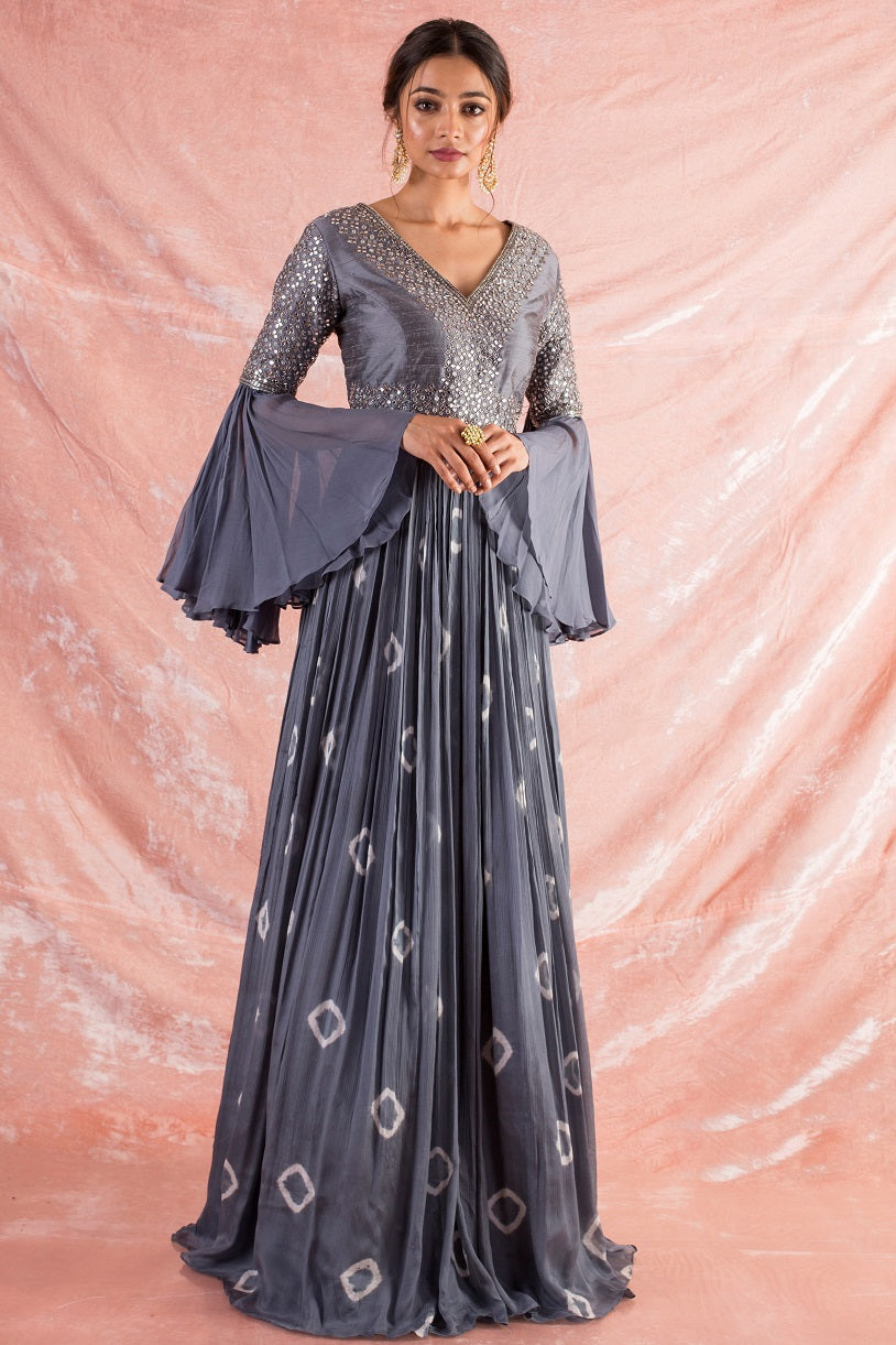 Grey Embroidered Chiffon Suit Online in USA-full view