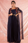 Navy Blue Embroidered Georgette Suit Online in USA-full view