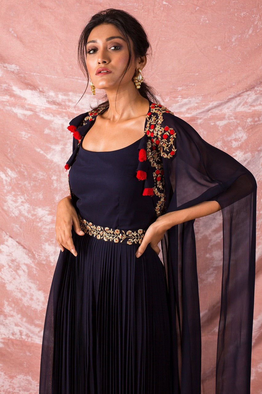 Navy Blue Embroidered Georgette Suit Online in USA-close up