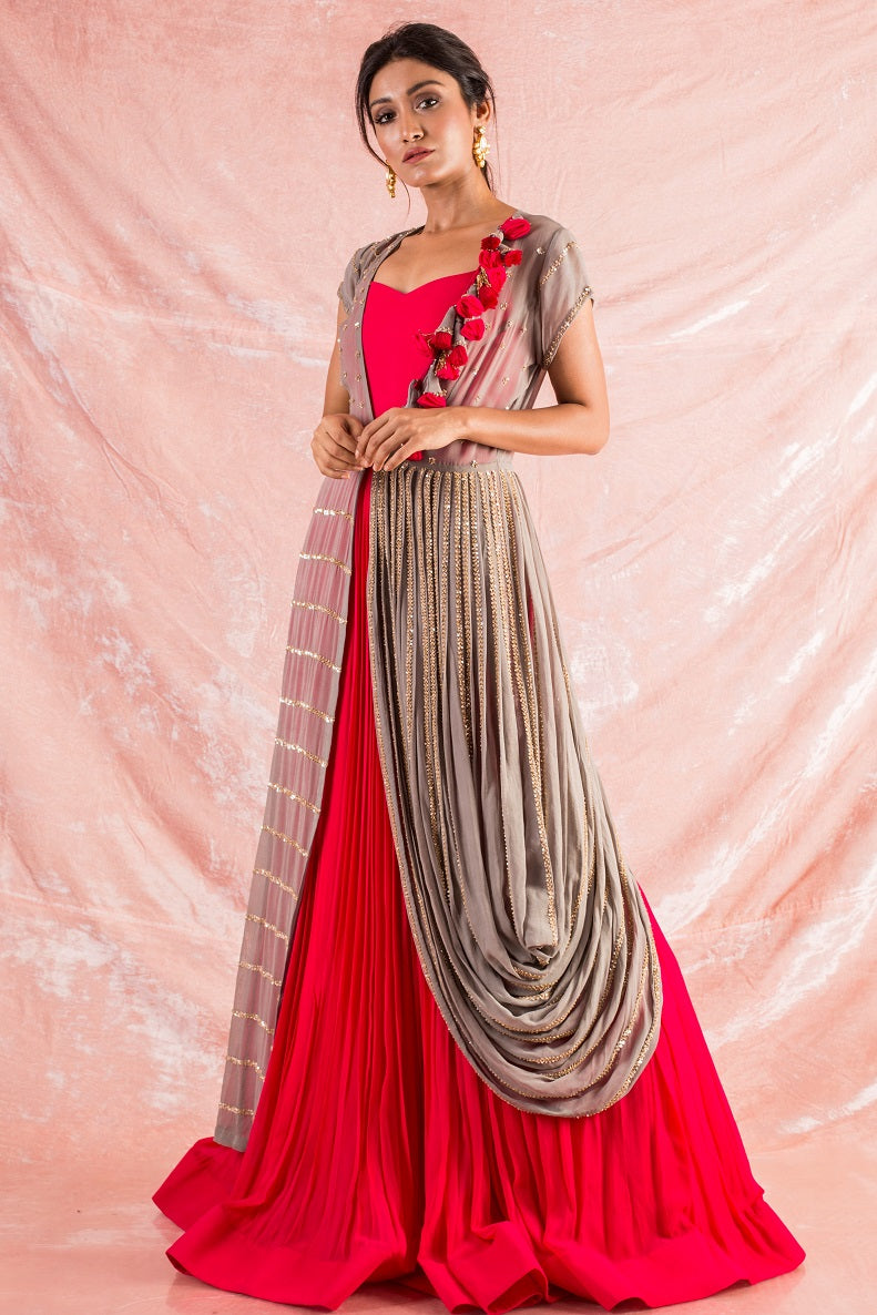 Red Embroidered Georgette Gown Online in USA-full view