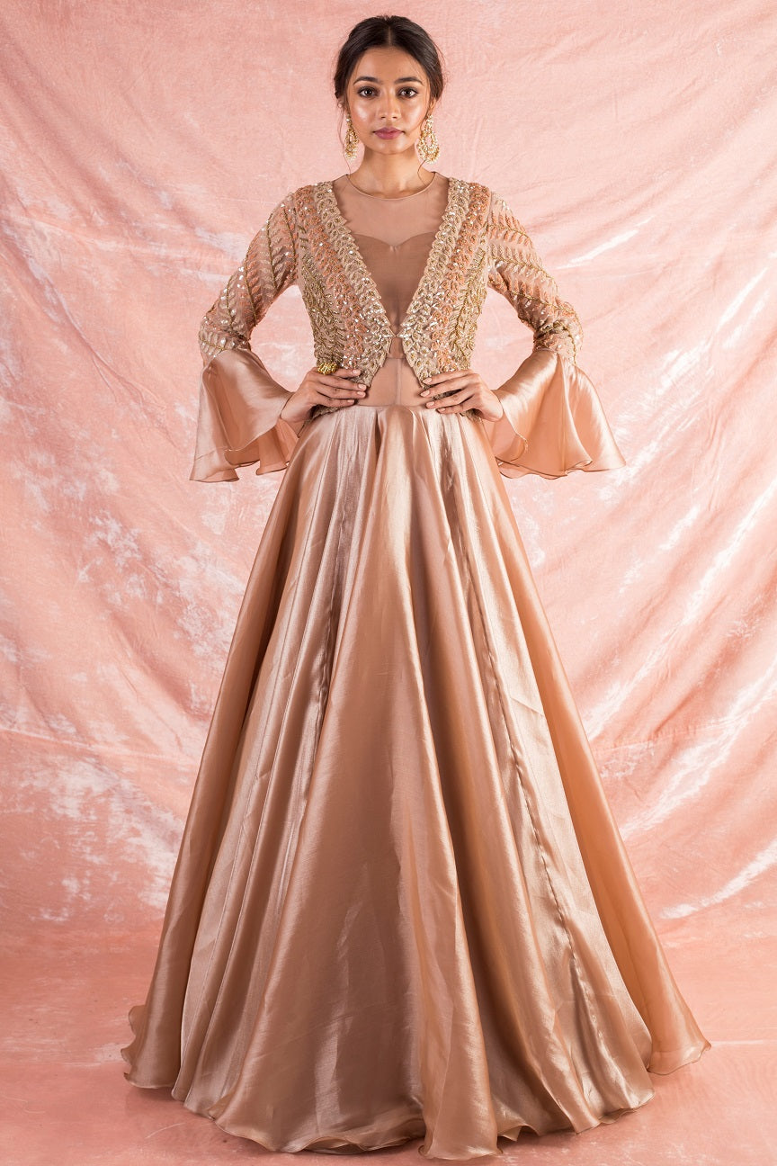 Gold Embroidered Satin Suit Online in USA-full view