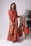 Red Tissue Chanderi Suit With Palazzo And Duppatta Online in USA-full view