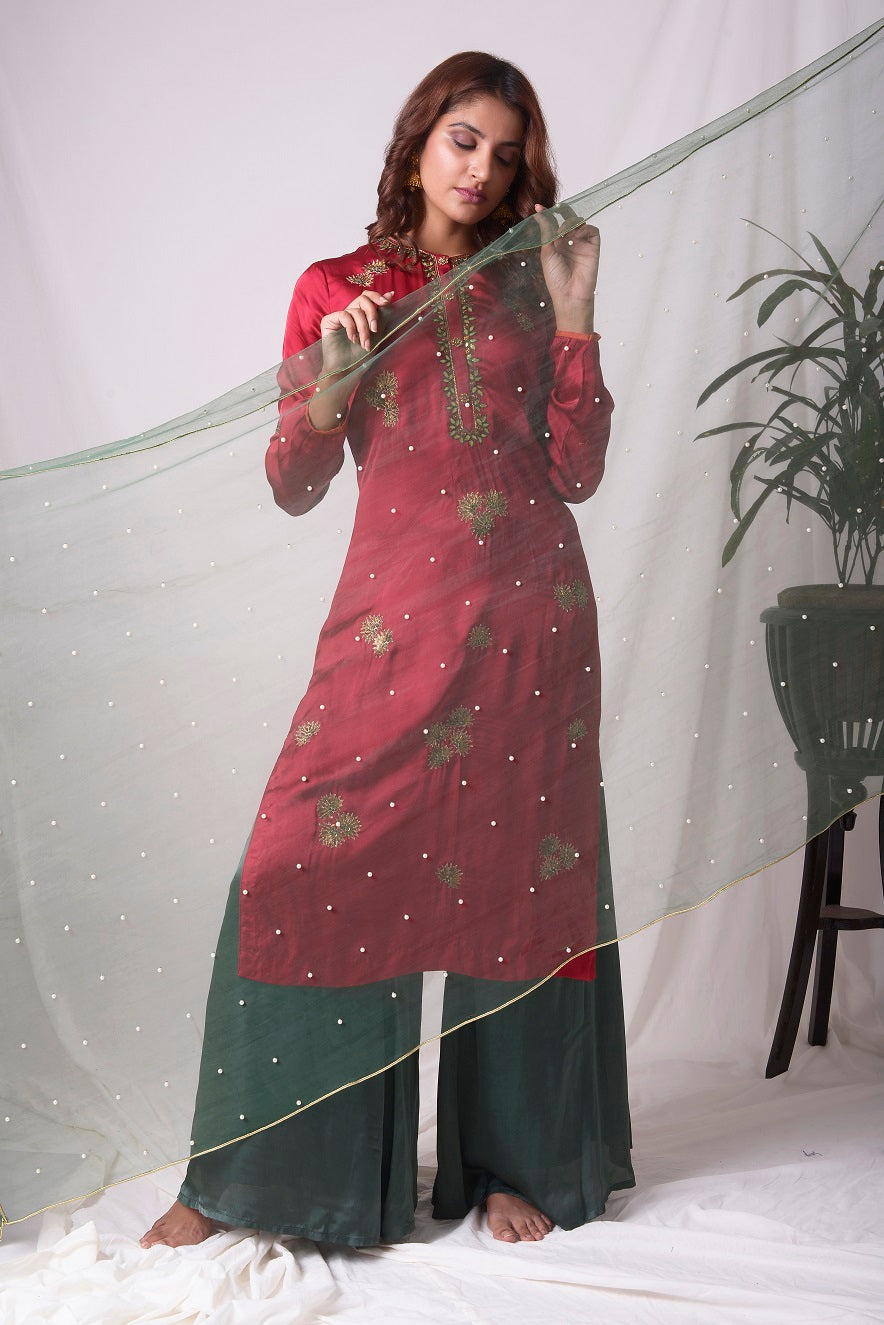 Buy red and green satin suit online in USA with palazzo and dupatta. Be the talk of parties and weddings with exquisite designer gowns, Indian suits, Anarkali dresses, Indowestern dresses from Pure Elegance Indian clothing store in USA.Shop online now.-full view-2