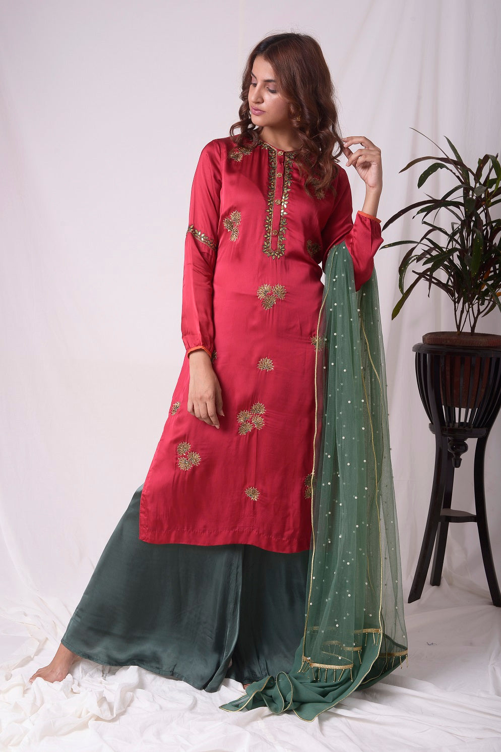 Buy red and green satin suit online in USA with palazzo and dupatta. Be the talk of parties and weddings with exquisite designer gowns, Indian suits, Anarkali dresses, Indowestern dresses from Pure Elegance Indian clothing store in USA.Shop online now.-full view-3