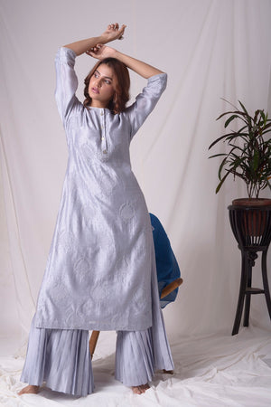 Buy grey lucknowi suit online in USA with pearl work. Be the talk of parties and weddings with exquisite designer gowns, Indian suits, Anarkali dresses, Indo-western dresses from Pure Elegance Indian clothing store in USA.Shop online now.-full view-2