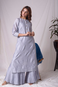 Buy grey lucknowi suit online in USA with pearl work. Be the talk of parties and weddings with exquisite designer gowns, Indian suits, Anarkali dresses, Indo-western dresses from Pure Elegance Indian clothing store in USA.Shop online now.-full view