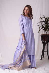 Buy blue chanderi suit online in USA with pearl work. Buy grey lucknowi suit online in USA with pearl work. Be the talk of parties and weddings with exquisite designer gowns, Indian suits, Anarkali dresses, Indo-western dresses from Pure Elegance Indian clothing store in USA .Shop online now.-full view-2