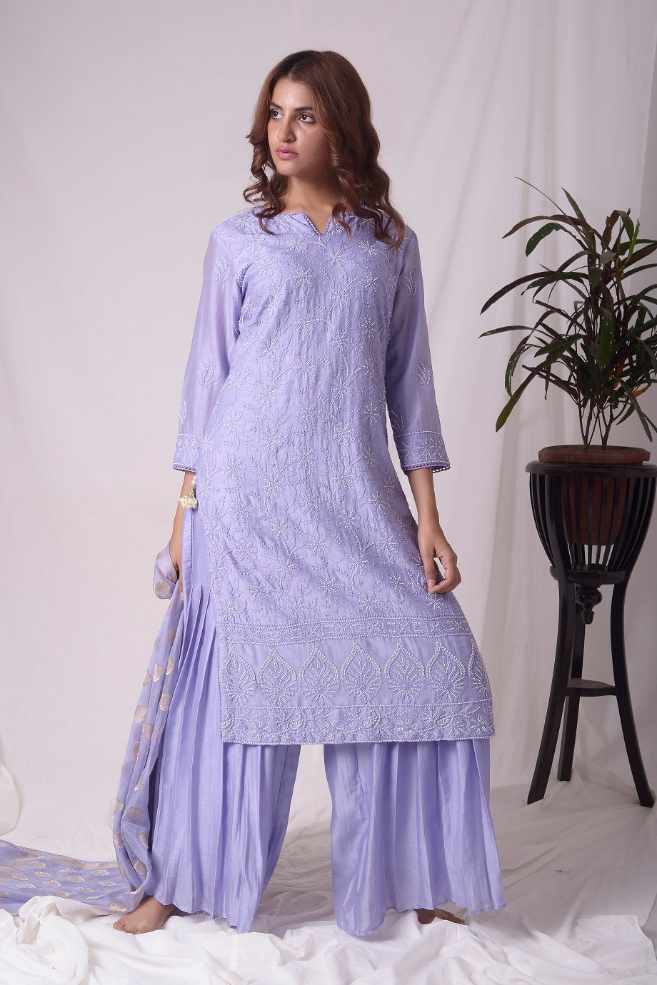 Buy blue chanderi suit online in USA with pearl work. Buy grey lucknowi suit online in USA with pearl work. Be the talk of parties and weddings with exquisite designer gowns, Indian suits, Anarkali dresses, Indo-western dresses from Pure Elegance Indian clothing store in USA .Shop online now.-full view-3