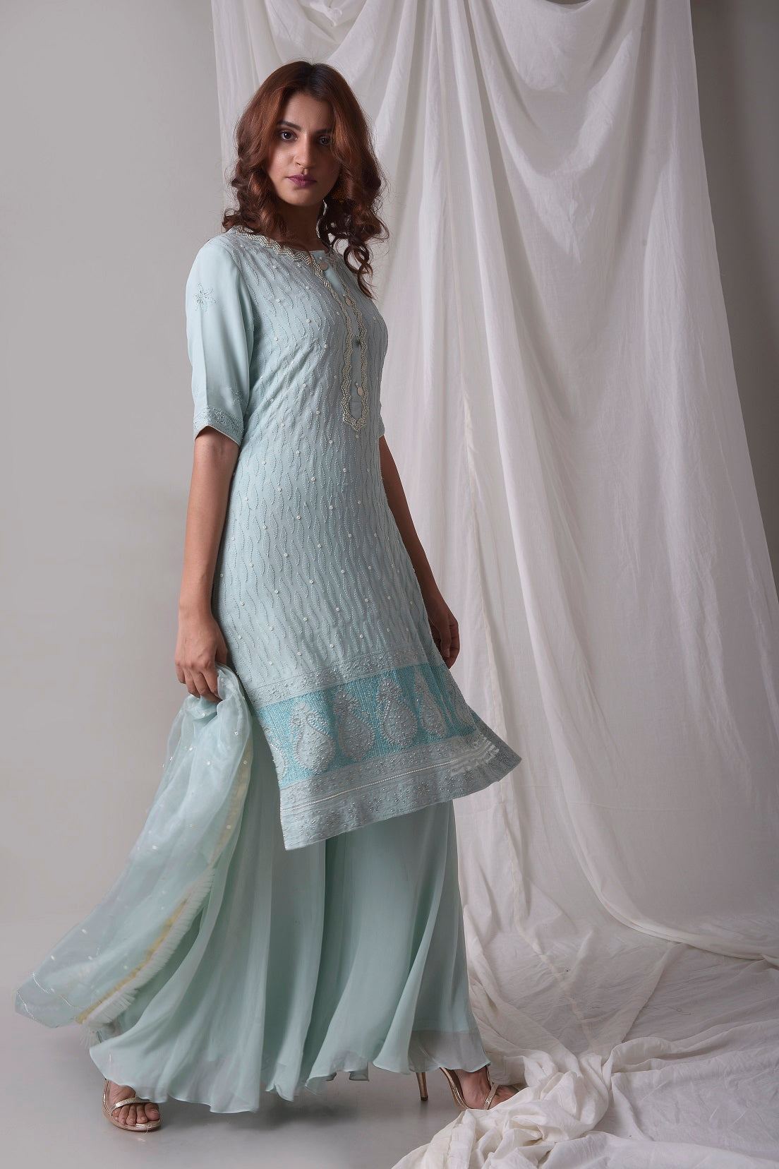Sky Blue Georgette Suit With Palazzo And Duppatta Online in USA-side view