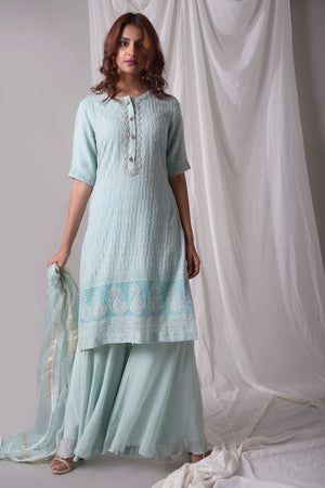 Sky Blue Georgette Suit With Palazzo And Duppatta Online in USA-full view-2